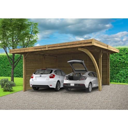 Carport en bois 2 places