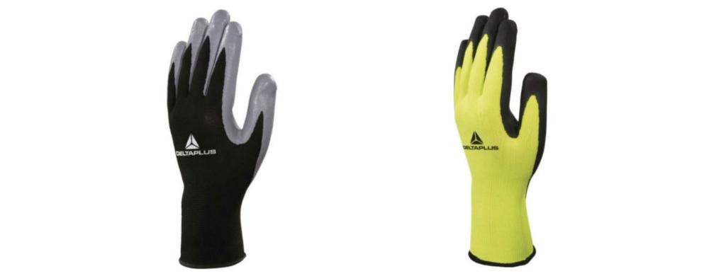gants de manutention risques mécaniques DeltaPlus Noir et Jaune.